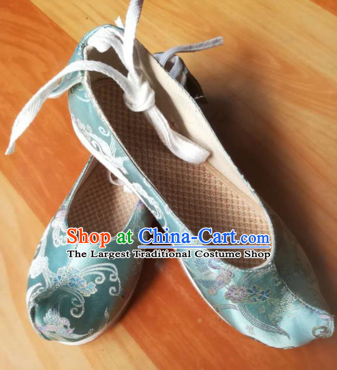 Asian Chinese Traditional Shoes Ancient Song Dynasty Light Blue Brocade Shoes Hanfu Shoes for Women