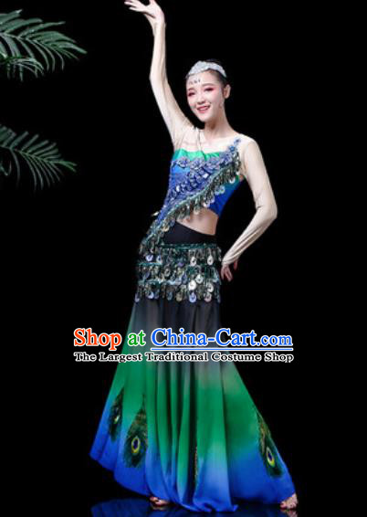 Chinese Traditional Ethnic Dance Costume Dai Nationality Peacock Dance Green Dress for Women