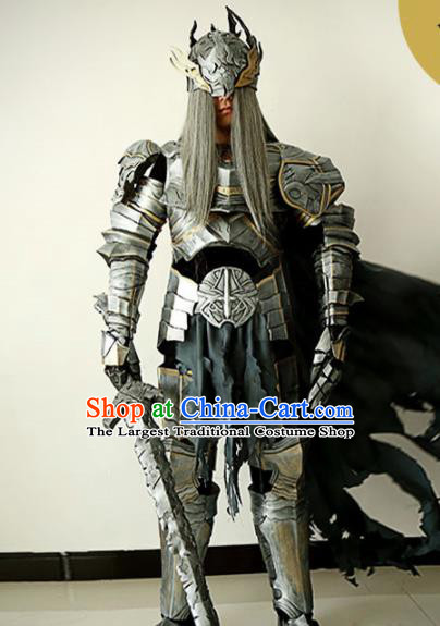 Chinese Ancient Drama Swordsman General Body Armor and Helmet Complete Set