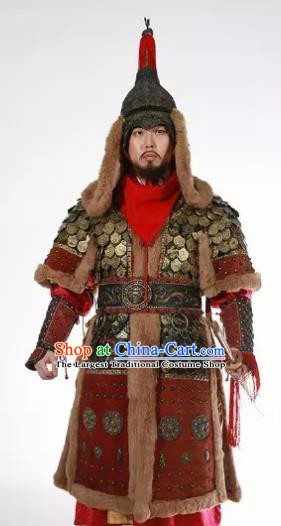 Chinese Ancient Drama Three Kingdoms Period Warrior General Body Armor and Helmet Complete Set