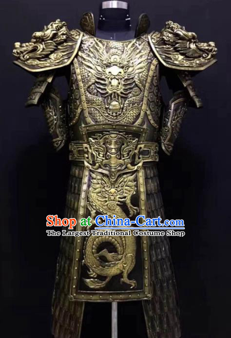 Chinese Han Dynasty Warrior Costume Ancient Drama General Golden Body Armor Complete Set