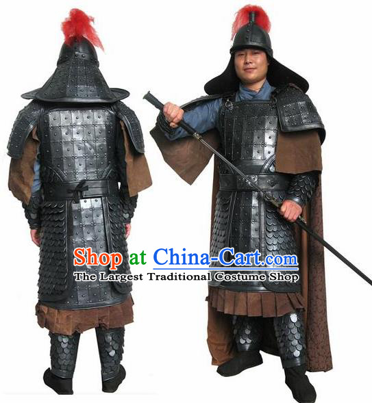 Chinese Ming Dynasty Drama Warrior Costume Ancient Soldier Body Armor and Helmet Complete Set