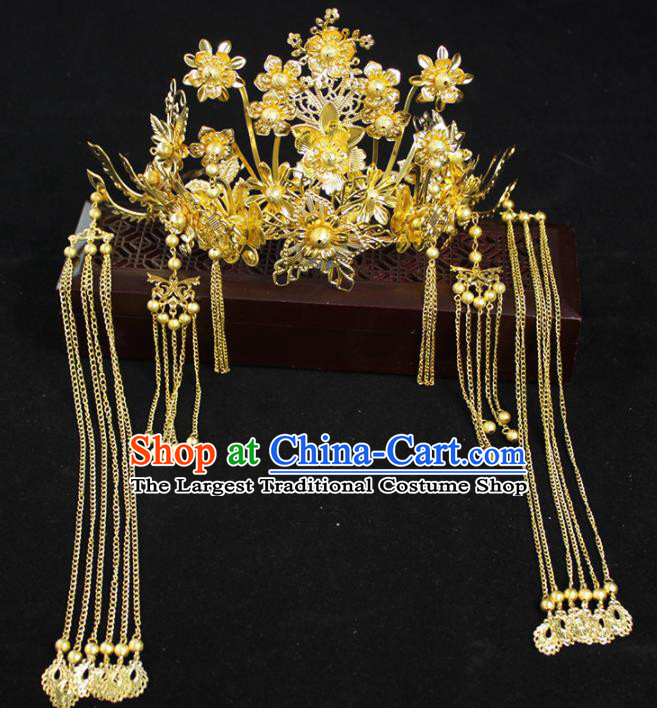 Chinese Ancient Palace Bride Hair Accessories Traditional Classical Wedding Phoenix Coronet Hairpins for Women