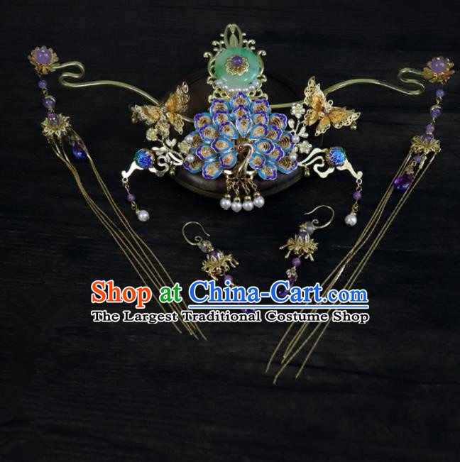 Chinese Ancient Palace Hair Accessories Traditional Classical Blueing Phoenix Coronet Hairpins for Women