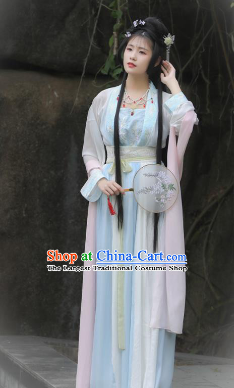 Traditional Chinese Ancient Peri Goddess Hanfu Dress Tang Dynasty Princess Historical Costume for Women