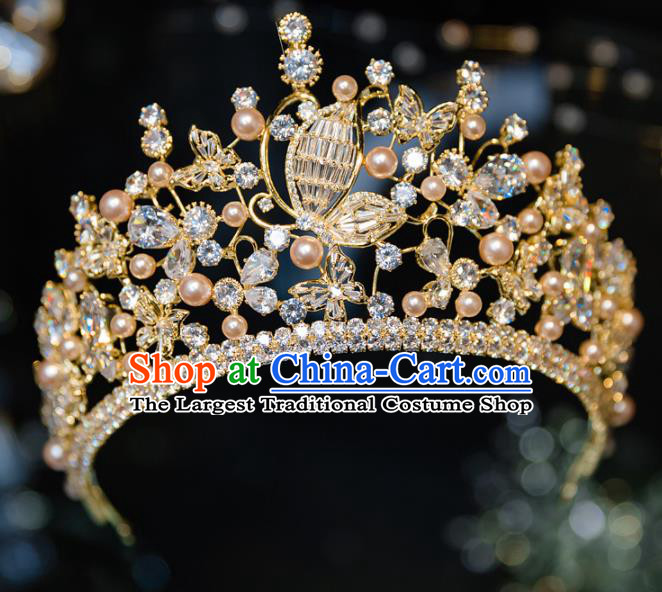 Handmade Baroque Hair Accessories Wedding Queen Crystal Butterfly Royal Crown for Women