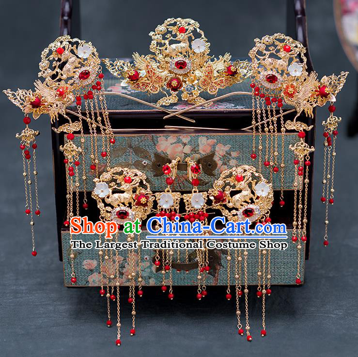 Chinese Ancient Wedding Hair Accessories Traditional Hanfu Tassel Hairpins Palace Phoenix Coronet for Women