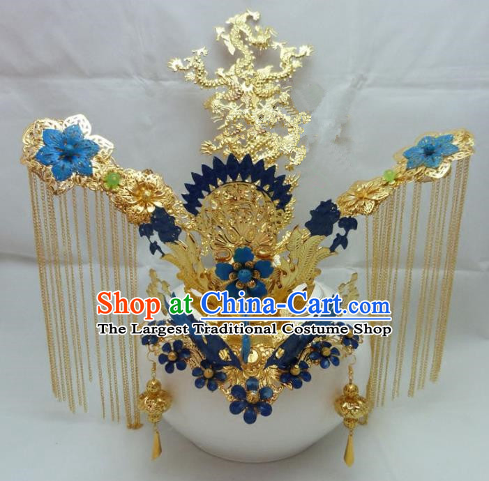 Chinese Traditional Palace Hairpins Ancient Han Dynasty Queen Blue Phoenix Coronet Hair Accessories for Women