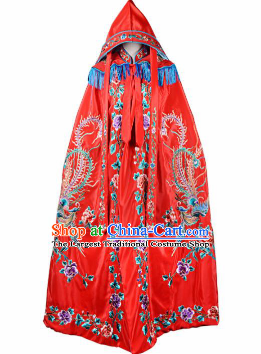 Professional Chinese Traditional Beijing Opera Swordswomen Costume Embroidered Red Cloak for Adults