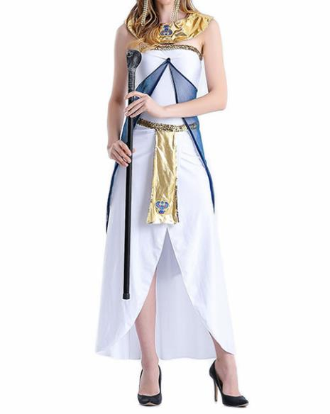 Traditional Egypt Empress Costume Ancient Egypt Queen White Dress with Cloak for Women