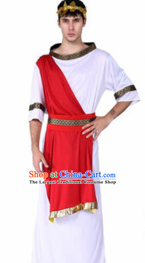 Traditional Greece Prince Costume Ancient Greek Warrior Red Clothing for Men
