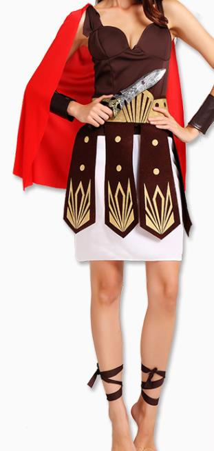 Traditional Rome Costume Ancient Roman Female Warrior Goddess Dress for Women