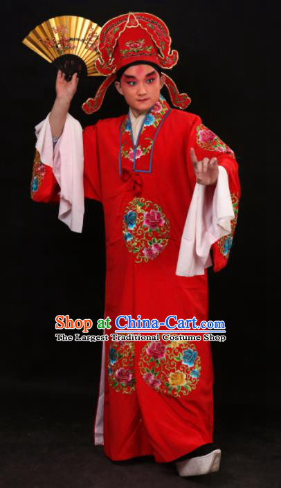 Professional Chinese Beijing Opera Niche Costume Traditional Peking Opera Red Robe and Hat for Adults