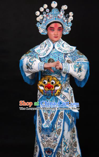 Professional Chinese Beijing Opera Takefu Costume Traditional Peking Opera Warrior White Clothing for Adults
