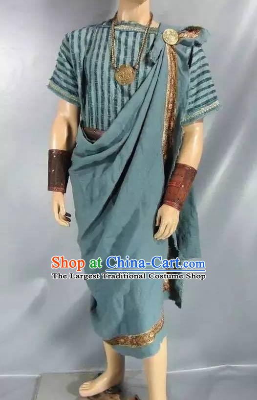 Traditional Greek Male Costume Ancient Greek Warrior Clothing Huntsman Blue Chitons for Men