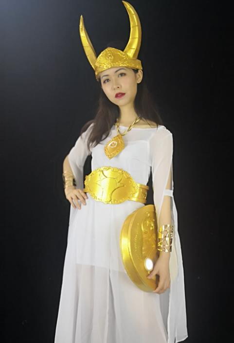 Traditional Roman Costume Ancient Rome Female Warrior Stola White Dress for Women