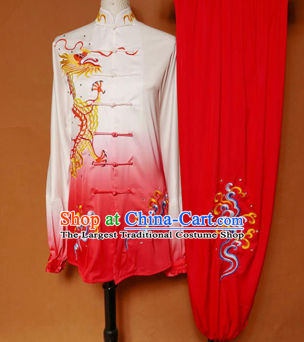 Top Grade Kung Fu Costume Martial Arts Training Tai Ji Embroidered Dragon Uniform for Adults