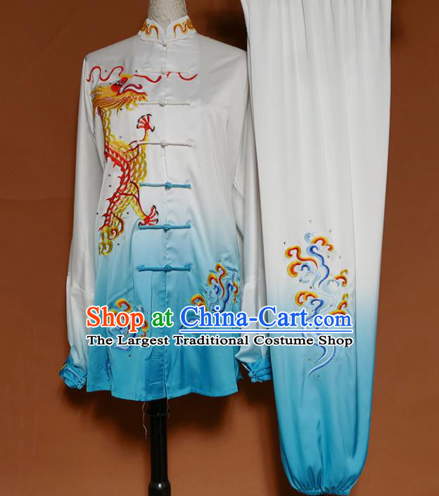 Top Grade Kung Fu Costume Martial Arts Training Tai Ji Embroidered Dragon Blue Uniform for Adults