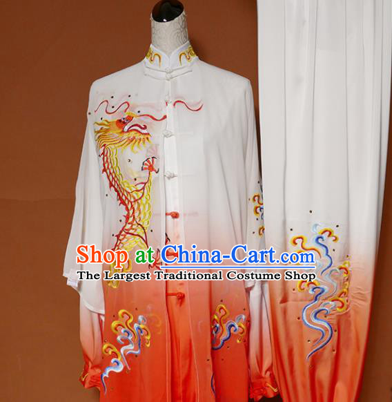 Top Grade Kung Fu Costume Martial Arts Training Tai Ji Embroidered Dragon Orange Uniform for Adults