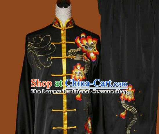Top Grade Kung Fu Embroidered Black Costume Martial Arts Training Tai Ji Uniform for Adults