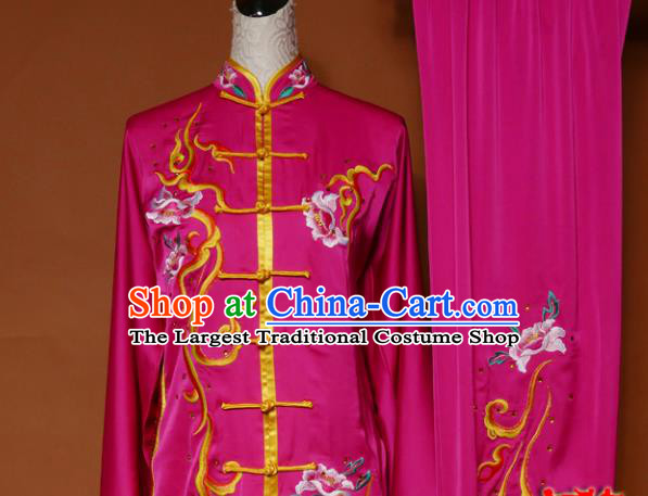 Top Grade Kung Fu Embroidered Rosy Costume Martial Arts Training Tai Ji Uniform for Adults