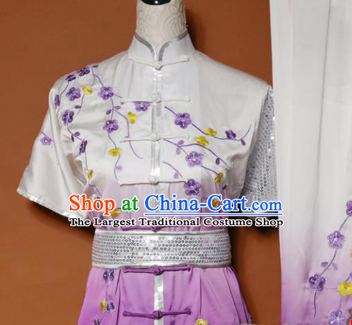 Top Tai Ji Training Embroidered Plum Blossom Purple Uniform Kung Fu Group Competition Costume for Women