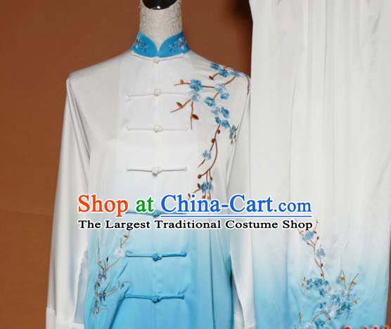 Top Tai Ji Training Embroidered Plum Blossom Blue Uniform Kung Fu Group Competition Costume for Women