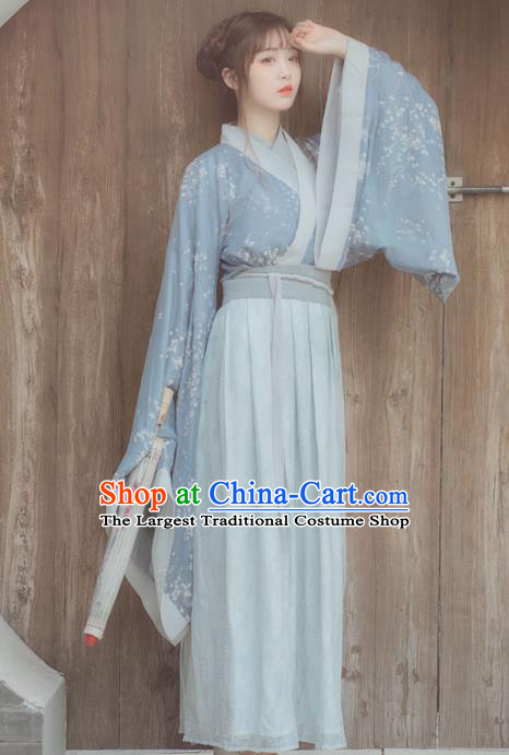 Chinese Ancient Blue Hanfu Dress Jin Dynasty Swordswoman Traditional Historical Costume for Women
