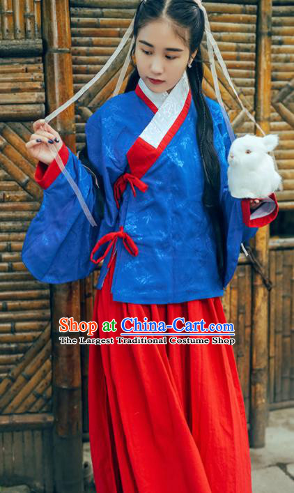 Chinese Ancient Hanfu Dress Ming Dynasty Young Lady Traditional Historical Costume for Women