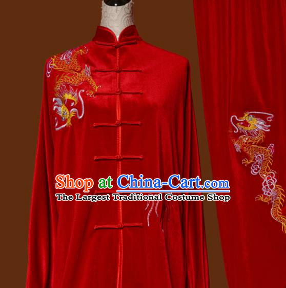 Top Grade Kung Fu Embroidered Red Velvet Costume Martial Arts Training Tai Ji Uniform for Adults