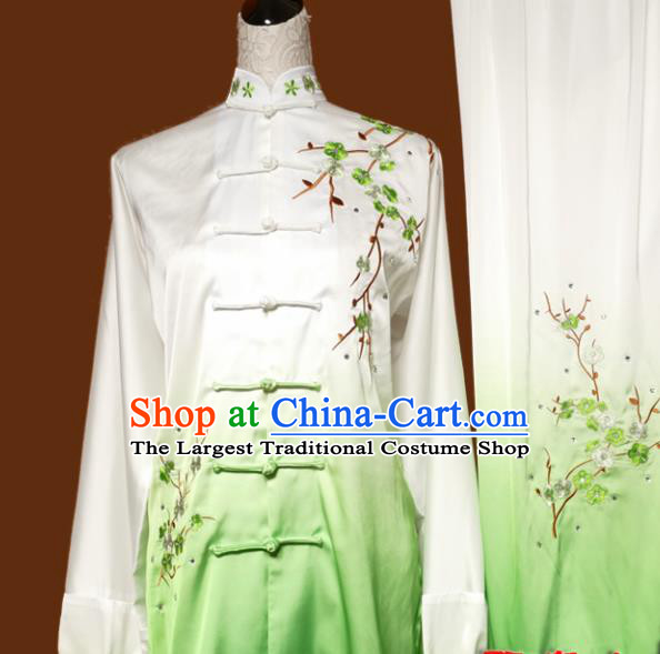 Chinese Traditional Tai Chi Embroidered Plum Blossom Green Uniform Kung Fu Group Competition Costume for Women