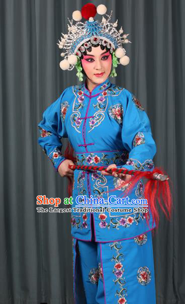 Professional Chinese Traditional Beijing Opera Blues Magic Warriors Blue Costume for Adults