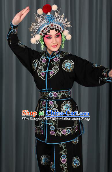 Professional Chinese Traditional Beijing Opera Blues Magic Warriors Black Costume for Adults