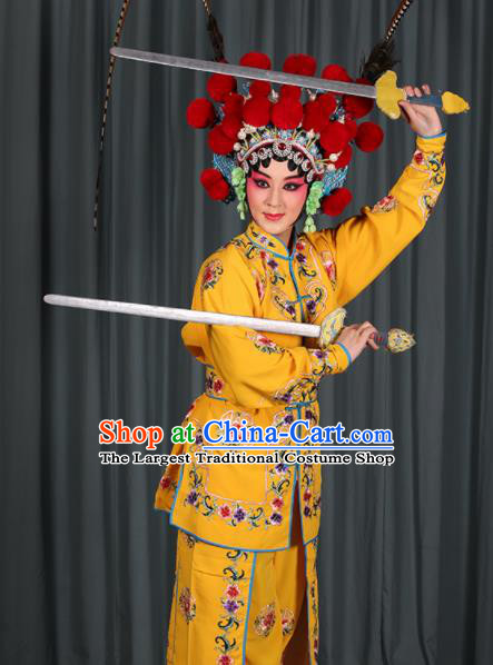 Professional Chinese Traditional Beijing Opera Blues Magic Warriors Yellow Costume for Adults
