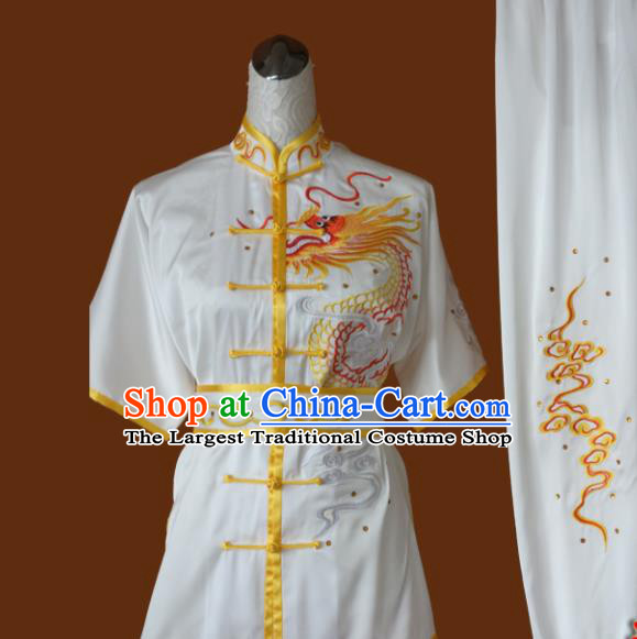 Top Grade Kung Fu Embroidered Dragon Costume Chinese Martial Arts Training Tai Ji Uniform for Adults