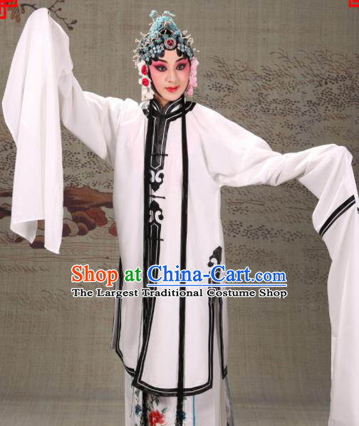 Professional Chinese Traditional Beijing Opera Actress Costume Ancient White Water Sleeve Dress for Adults