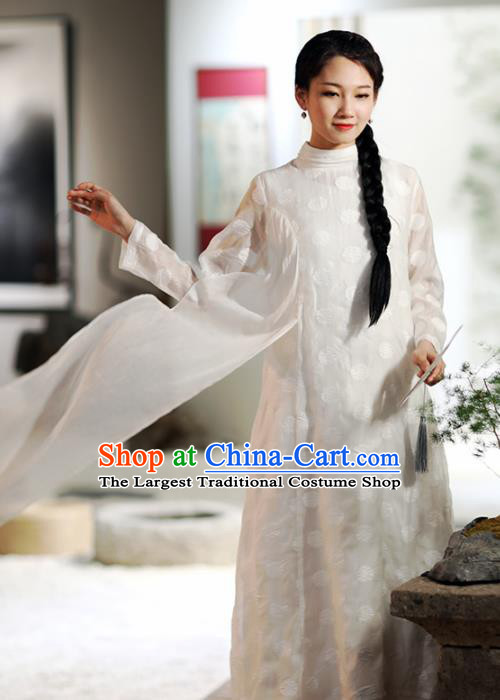 Chinese National Costume Traditional Classical Cheongsam Retro White Qipao Dress for Women