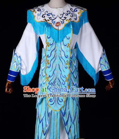 Professional Chinese Traditional Beijing Opera Blues Costume Magic Warriors Embroidered Dress for Adults