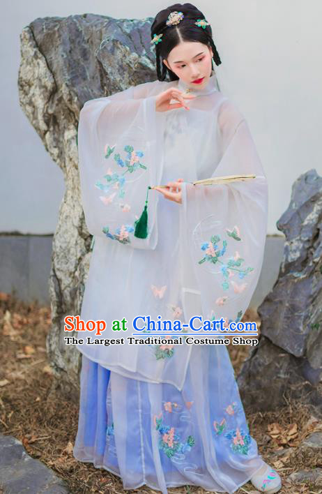 Chinese Ancient Imperial Consort Embroidered Hanfu Dress Ming Dynasty Traditional Historical Costume for Women
