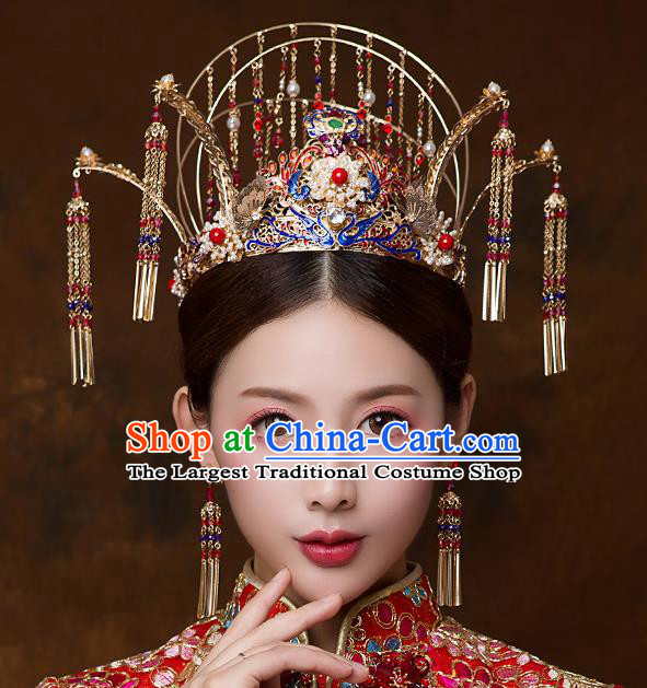 Chinese Ancient Handmade Blueing Phoenix Coronet Bride Tassel Hairpins Traditional Classical Wedding Hair Accessories for Women