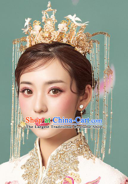 Chinese Ancient Palace Birds Phoenix Coronet Hairpins Traditional Wedding Hair Accessories for Women