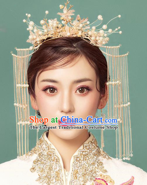 Chinese Ancient Palace Phoenix Coronet Tassel Hairpins Traditional Wedding Hair Accessories for Women
