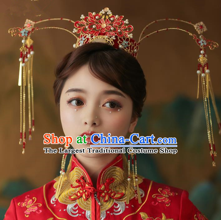 Chinese Traditional Palace Enamel Red Phoenix Coronet Tassel Hairpins Ancient Wedding Hair Accessories for Women