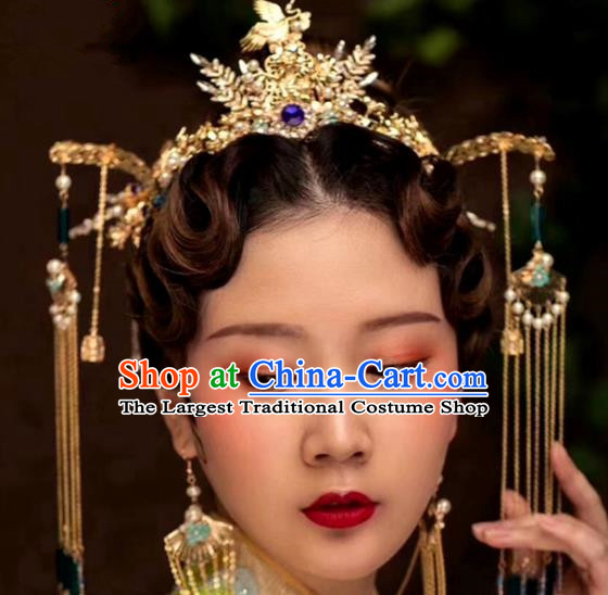 Chinese Traditional Palace Cranes Tassel Phoenix Coronet Hairpins Ancient Wedding Hair Accessories for Women