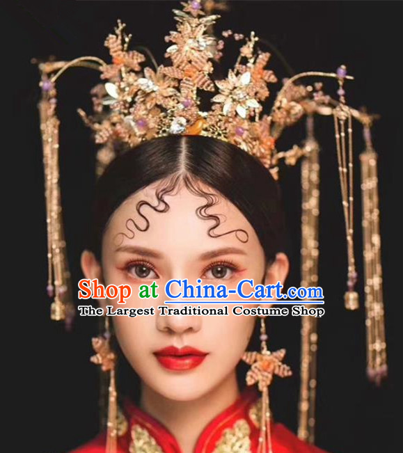 Chinese Ancient Palace Crown Phoenix Coronet Hairpins Traditional Hair Accessories Headdress for Women
