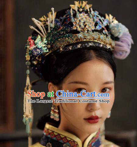 Chinese Ancient Qing Dynasty Queen Phoenix Coronet Hairpins Traditional Palace Hair Accessories Headdress for Women