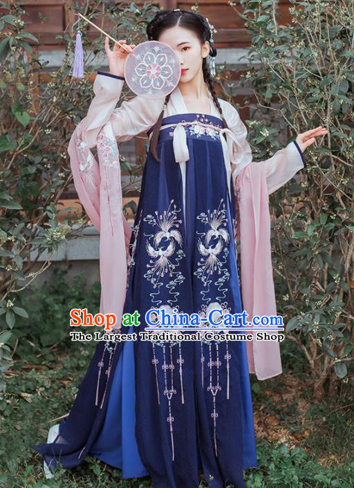 Chinese Traditional Tang Dynasty Princess Historical Costume Ancient Peri Embroidered Hanfu Dress for Women