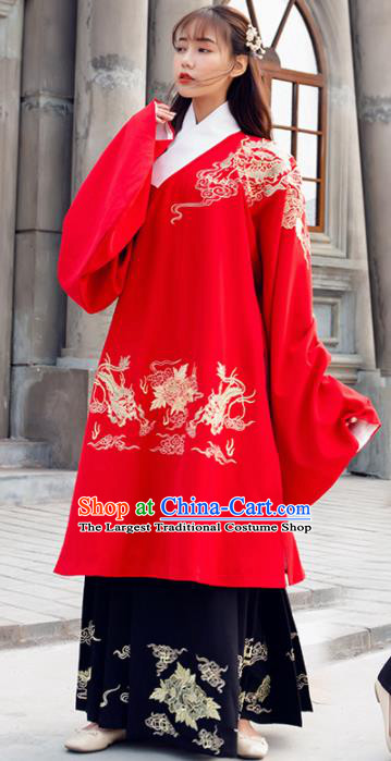 Traditional Chinese Ancient Ming Dynasty Nobility Lady Red Embroidered Replica Costume for Women