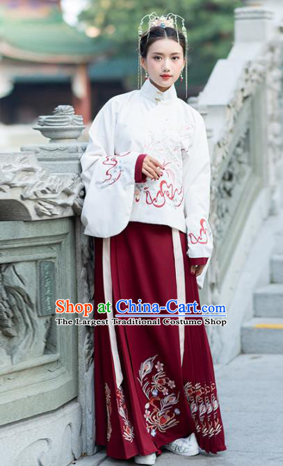 Traditional Chinese Ming Dynasty Hanfu Dress Ancient Nobility Lady Embroidered Replica Costume for Women