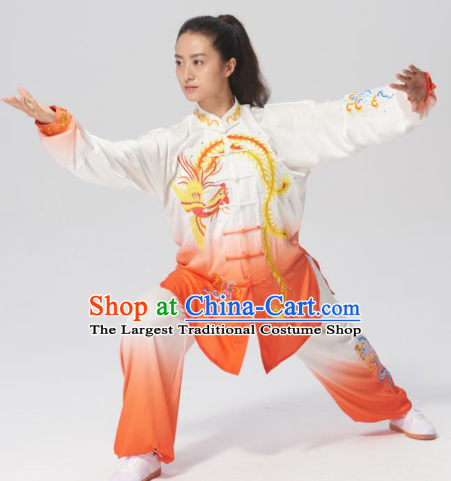 Chinese Traditional Tai Chi Group Printing Phoenix Costume Martial Arts Kung Fu Competition Clothing for Women